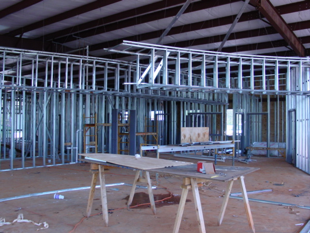 Reception area during construction